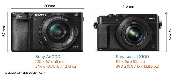 Sony A6000 vs Panasonic LX100 Camera Size Comparison - Front View