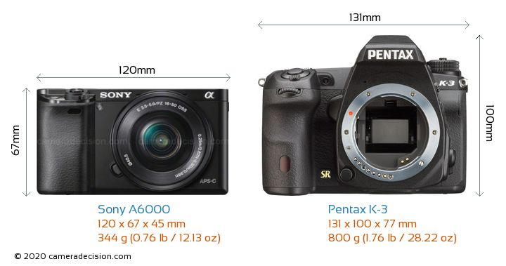 Sony A6000 vs Pentax K-3 Camera Size Comparison - Front View