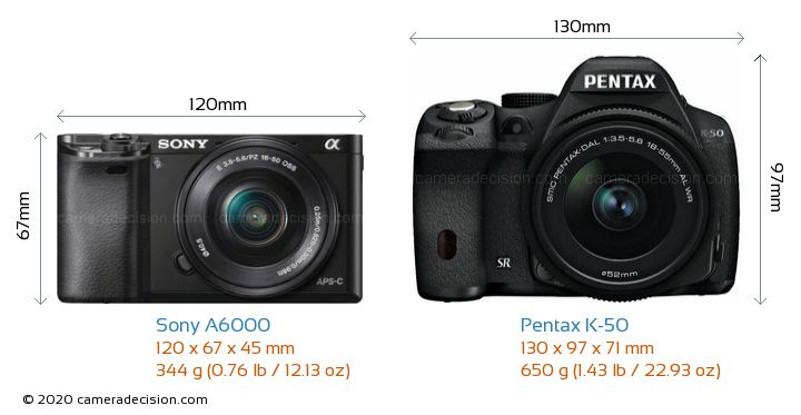 Sony A6000 vs Pentax K-50 Camera Size Comparison - Front View