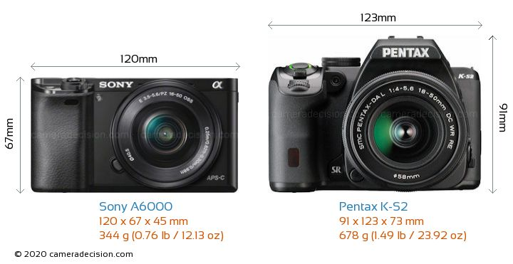 Sony A6000 vs Pentax K-S2 Camera Size Comparison - Front View