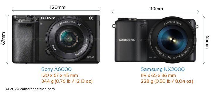 Sony A6000 vs Samsung NX2000 Camera Size Comparison - Front View