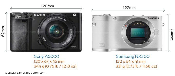 Sony A6000 vs Samsung NX300 Camera Size Comparison - Front View