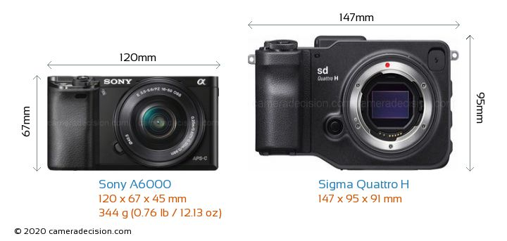 Sony A6000 vs Sigma Quattro H Camera Size Comparison - Front View
