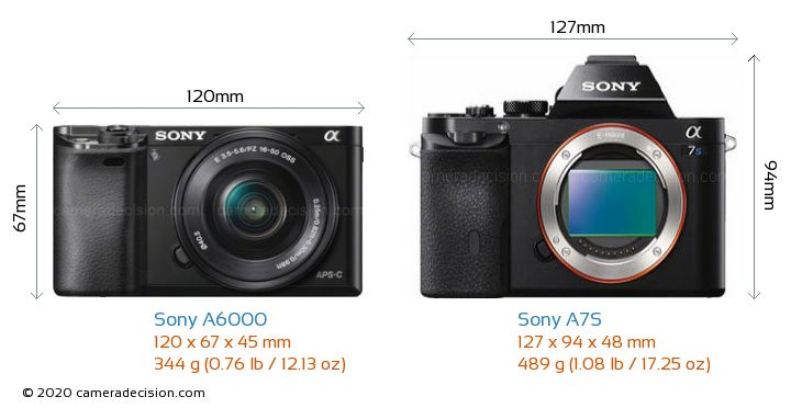 Sony A6000 vs Sony A7S Camera Size Comparison - Front View