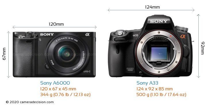 Sony A6000 vs Sony A33 Camera Size Comparison - Front View