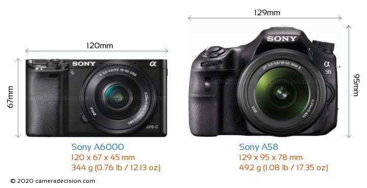Sony A6000 vs Sony A58 Camera Size Comparison - Front View