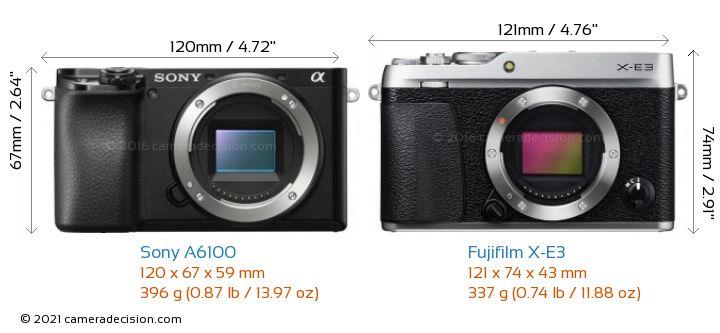 https://cameradecision.com/sizecomparison/Sony-Alpha-a6100-vs-Fujifilm-X-E3-size-comparison.jpg