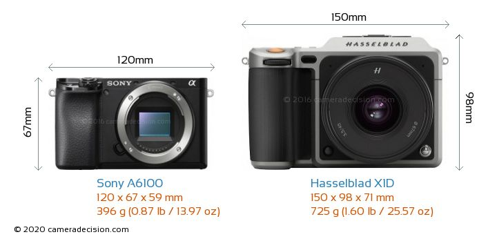 Sony A6100 vs Hasselblad X1D Camera Size Comparison - Front View