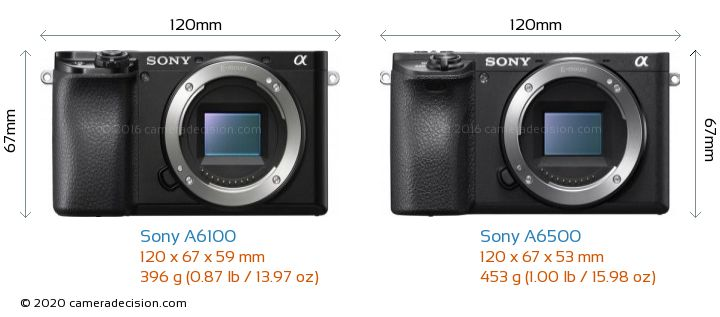 Sony A6100 vs Sony A6500 Camera Size Comparison - Front View