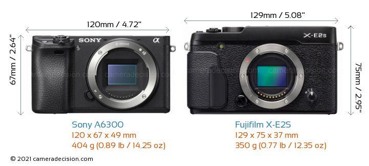 Sony A6300 vs Fujifilm X-E2S Camera Size Comparison - Front View