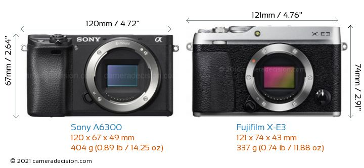 Sony A6300 vs Fujifilm X-E3 Camera Size Comparison - Front View