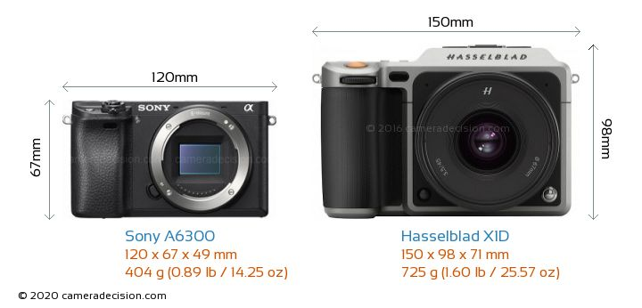 Sony A6300 vs Hasselblad X1D Camera Size Comparison - Front View
