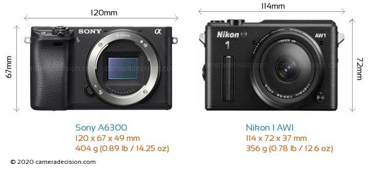 Sony A6300 vs Nikon 1 AW1 Camera Size Comparison - Front View