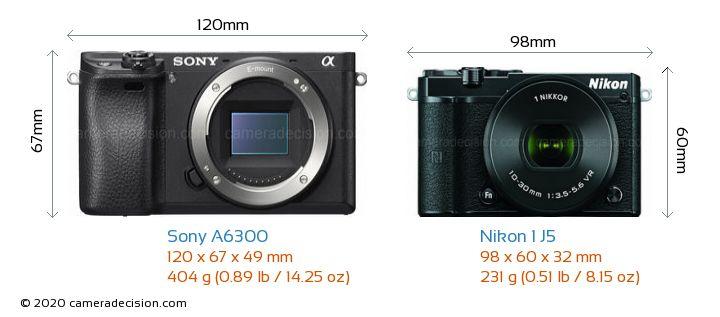 Sony A6300 vs Nikon 1 J5 Camera Size Comparison - Front View