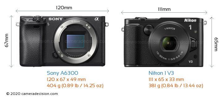 Sony A6300 vs Nikon 1 V3 Camera Size Comparison - Front View