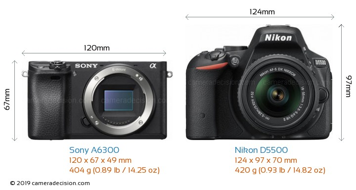 Sony A6300 vs Nikon D5500 Camera Size Comparison - Front View