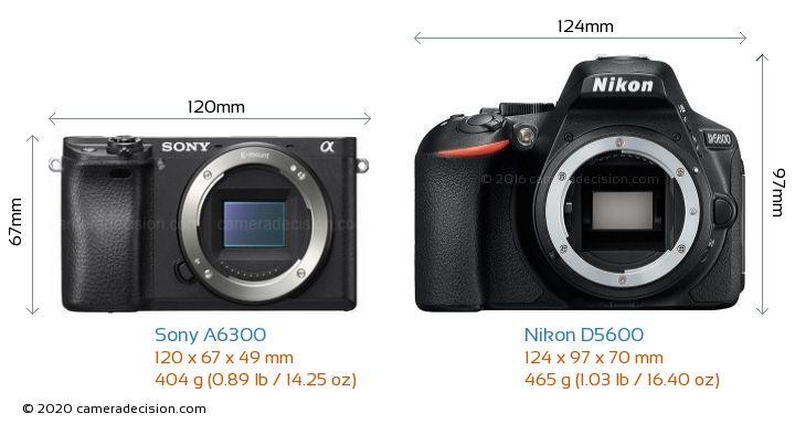 Sony A6300 vs Nikon D5600 Camera Size Comparison - Front View