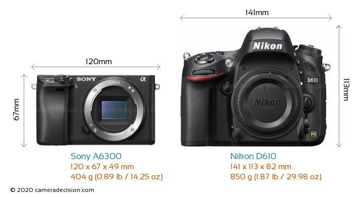 Sony A6300 vs Nikon D610 Camera Size Comparison - Front View