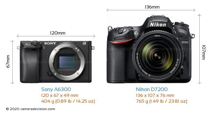 Sony A6300 vs Nikon D7200 Camera Size Comparison - Front View