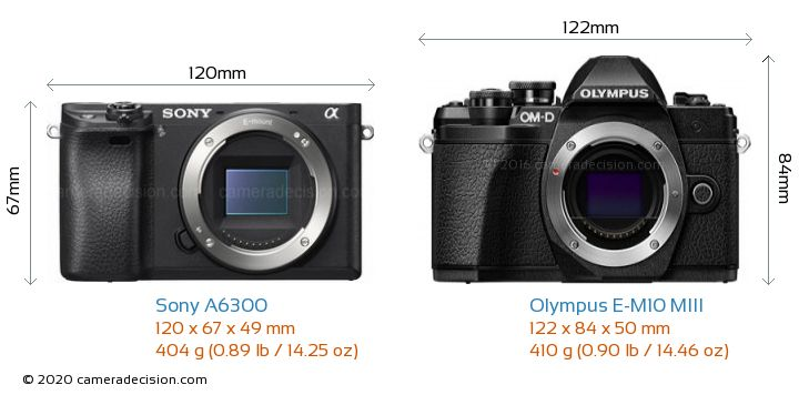 Sony A6300 vs Olympus E-M10 MIII Camera Size Comparison - Front View