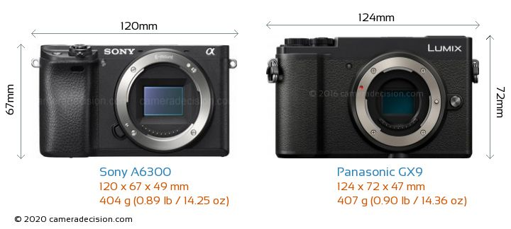 Sony A6300 vs Panasonic GX9 Camera Size Comparison - Front View