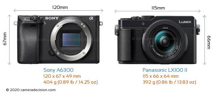 Sony A6300 vs Panasonic LX100 II Camera Size Comparison - Front View