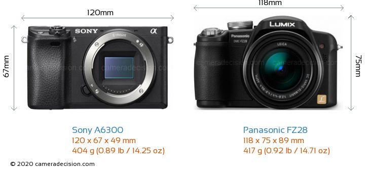 Sony A6300 vs Panasonic FZ28 Camera Size Comparison - Front View