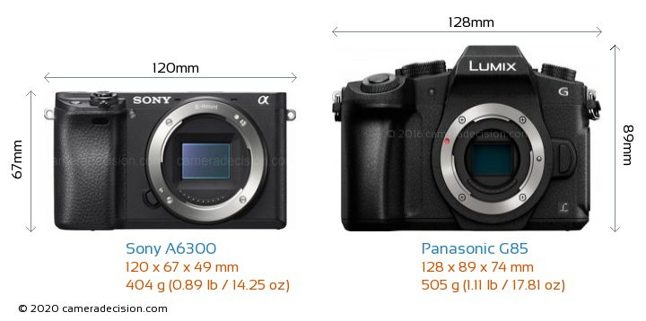 Sony A6300 vs Panasonic G85 Camera Size Comparison - Front View
