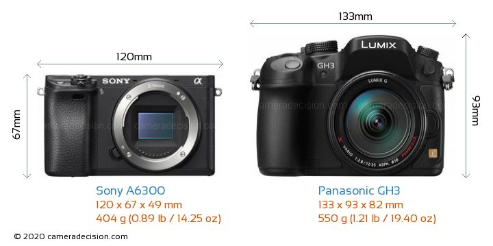Sony A6300 vs Panasonic GH3 Camera Size Comparison - Front View