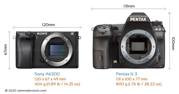 Sony A6300 vs Pentax K-3 Camera Size Comparison - Front View