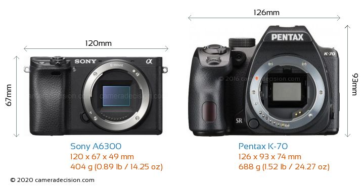 Sony A6300 vs Pentax K-70 Camera Size Comparison - Front View