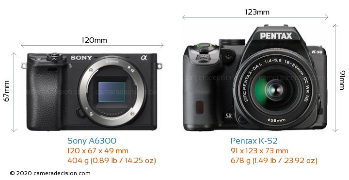 Sony A6300 vs Pentax K-S2 Camera Size Comparison - Front View