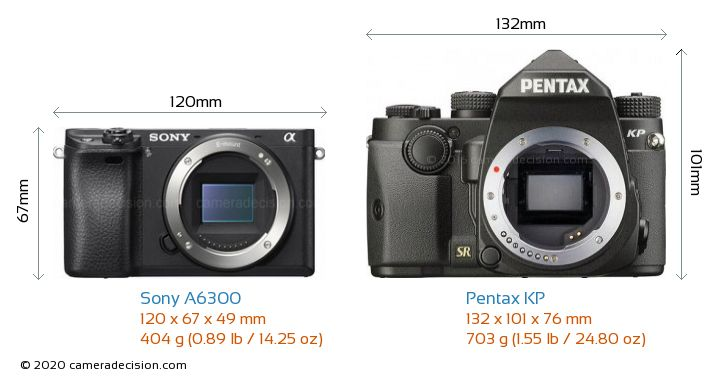 Sony A6300 vs Pentax KP Camera Size Comparison - Front View
