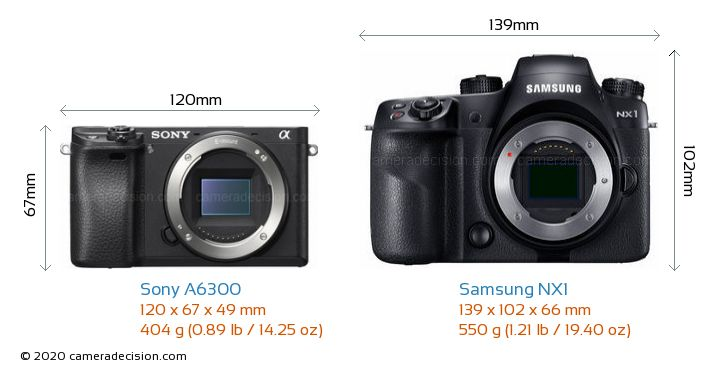 Sony A6300 vs Samsung NX1 Camera Size Comparison - Front View