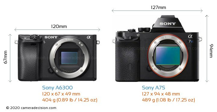 Sony A6300 vs Sony A7S Camera Size Comparison - Front View