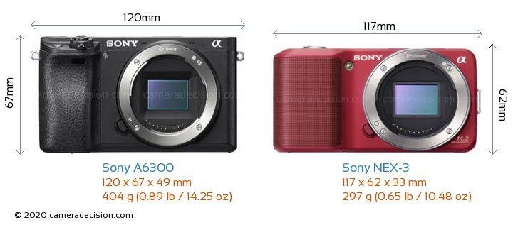 Sony A6300 vs Sony NEX-3 Camera Size Comparison - Front View