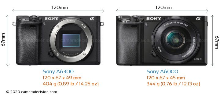 Sony A6300 vs Sony A6000 Camera Size Comparison - Front View