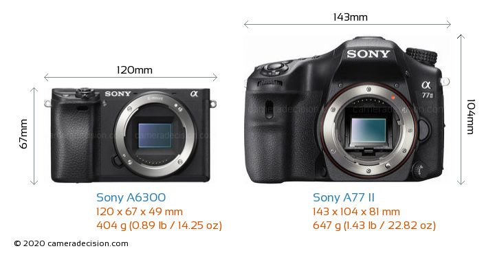 Sony A6300 vs Sony A77 II Camera Size Comparison - Front View