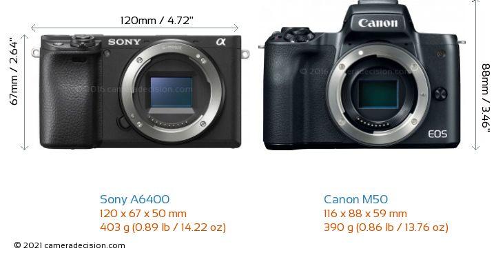 Sony A6400 vs Canon M50 Camera Size Comparison - Front View