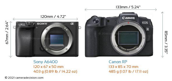 Sony A6400 vs Canon RP Camera Size Comparison - Front View