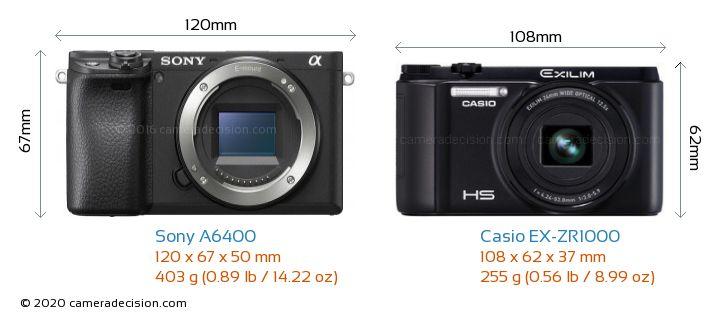 Sony A6400 vs Casio EX-ZR1000 Camera Size Comparison - Front View