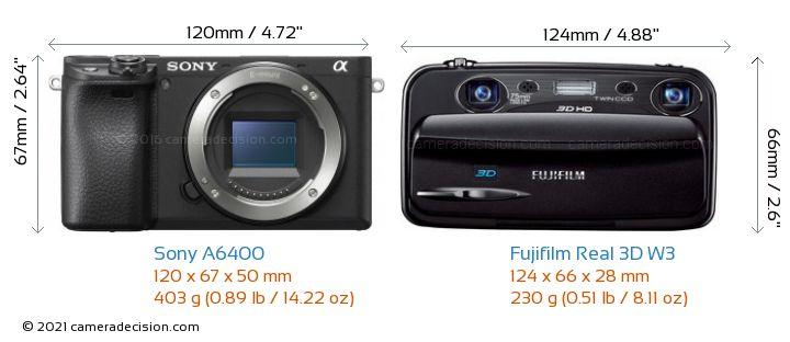 Sony A6400 vs Fujifilm Real 3D W3 Camera Size Comparison - Front View