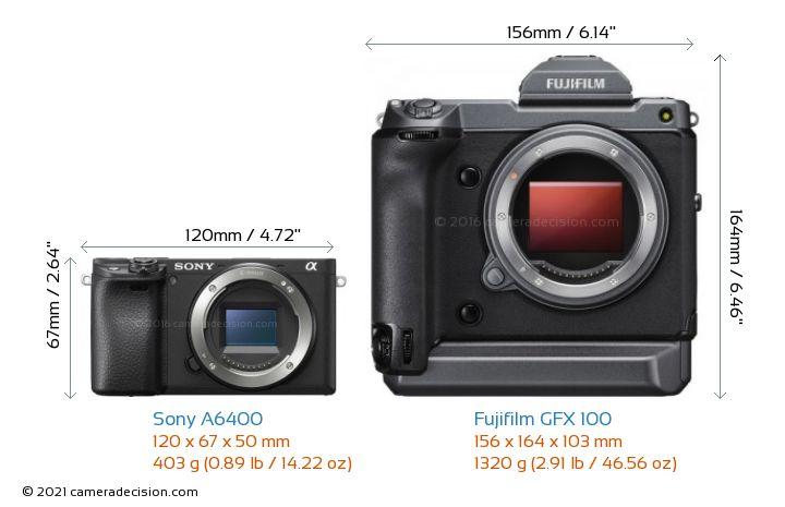Sony A6400 vs Fujifilm GFX 100 Camera Size Comparison - Front View