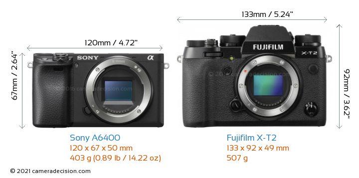 Sony A6400 vs Fujifilm X-T2 Camera Size Comparison - Front View