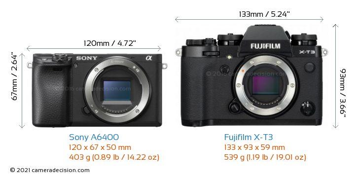 Sony A6400 vs Fujifilm X-T3 Camera Size Comparison - Front View