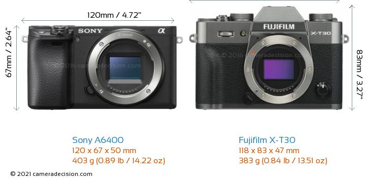 Sony A6400 vs Fujifilm X-T30 Camera Size Comparison - Front View