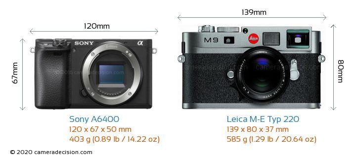 Sony A6400 vs Leica M-E Typ 220 Camera Size Comparison - Front View