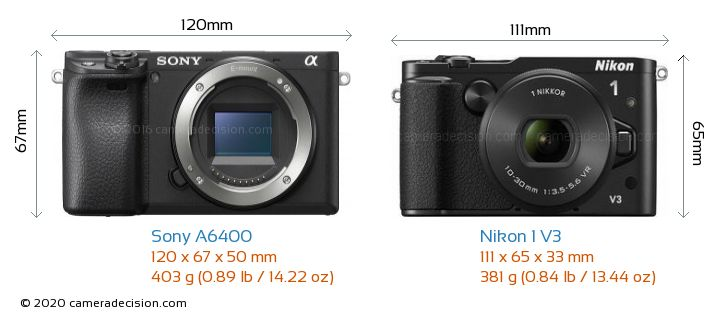 Sony A6400 vs Nikon 1 V3 Camera Size Comparison - Front View