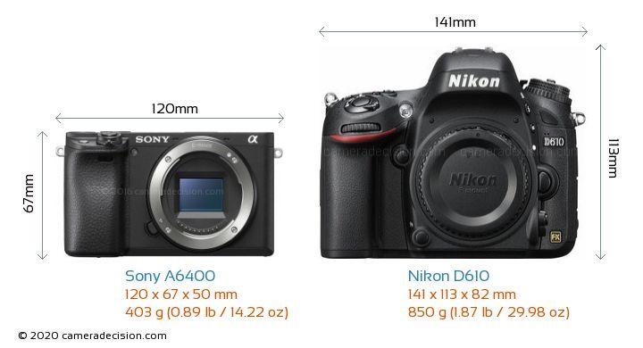 Sony A6400 vs Nikon D610 Camera Size Comparison - Front View