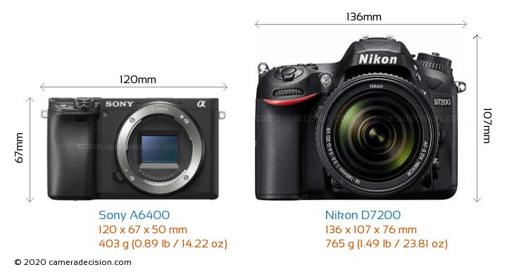 Sony A6400 vs Nikon D7200 Camera Size Comparison - Front View